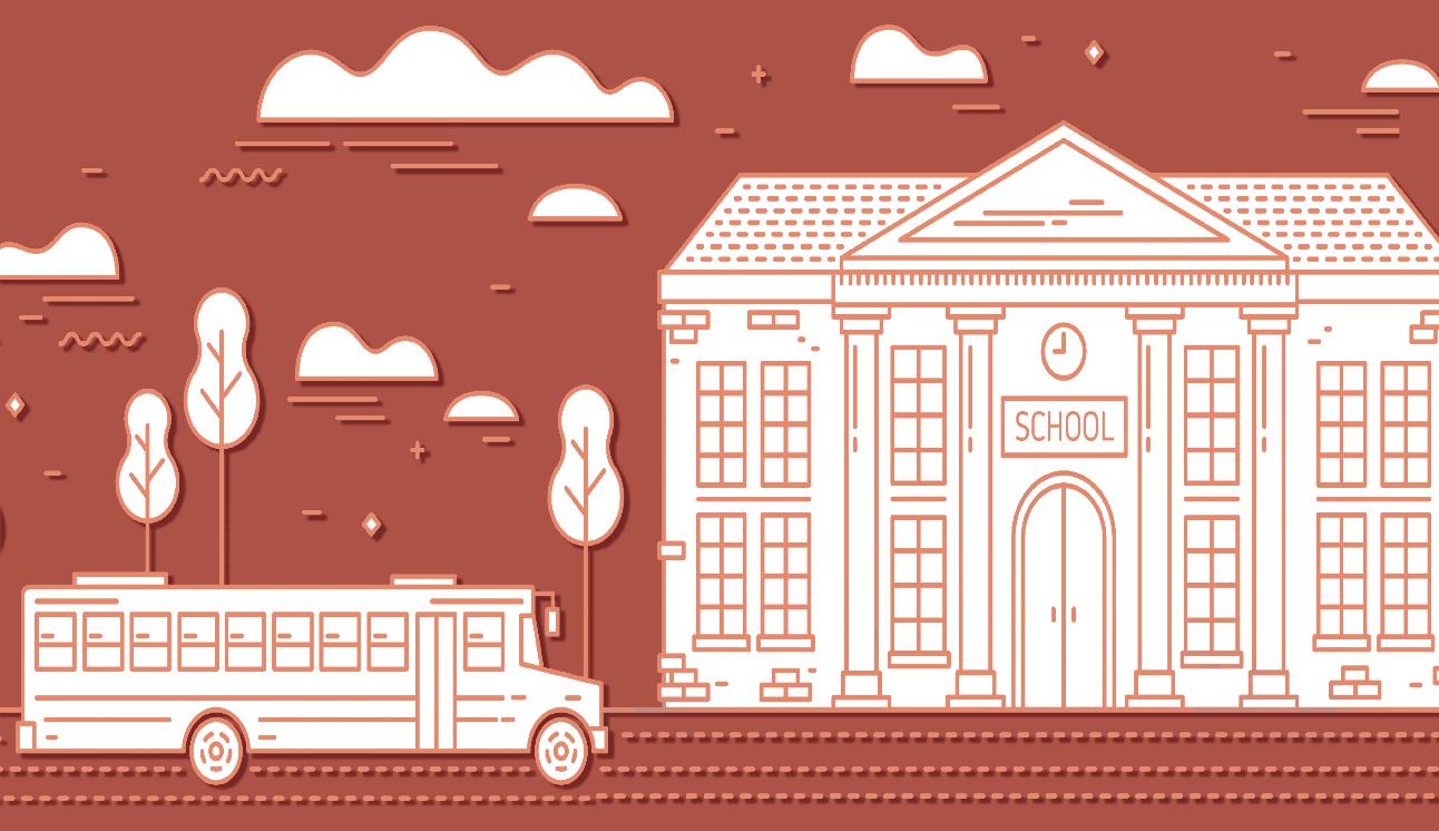 Image of School Bus and School Behind it